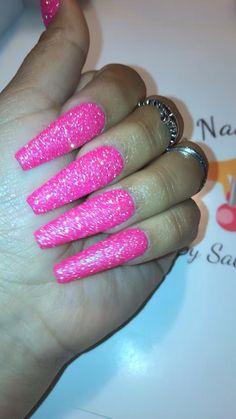 The Nail Studio by Sabrina Neon Purple Nails, Pink Sparkle Nails, Pink Glitter Nails, Pink Acrylic Nails, Orange Nails, Cute Pink Nails, Pink Acrylics, White Nails, Edgy Nails