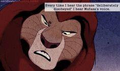 """""""Every time I hear the phrase """"deliberately disobeyed"""" I hear Mufasa's voice"""". Disney Trivia, Disney Facts, Every Disney Movie, Disney Movies, Disney Nerd, Walt Disney, Pixar Animated Movies, Disney Divas, Simba And Nala"""