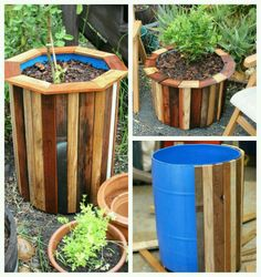 Pallet Planter Ideas Plastic drums are easily available and ca be used for different purposes. Cover…Plastic drums are easily available and ca be used for different purposes. Outdoor Projects, Garden Projects, Wood Projects, Palette Planter, Plastic Drums, Wooden Pallets, Pallet Wood, Diy Pallet, Pallet Ideas