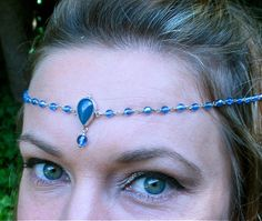 Blue Teardrop Beaded Circlet by SpiritoftheGoddess on Etsy, $42.00