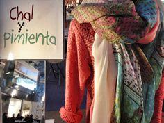 Chal de lino con camisa coral
