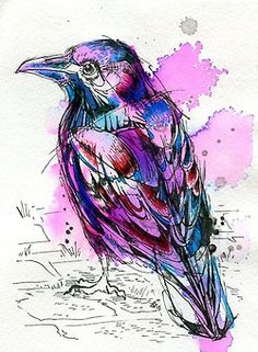 Shop for painting on Etsy, the place to express your creativity through the buying and selling of handmade and vintage goods. Trash Polka, Bird Line Drawing, Watercolor Paintings, Watercolour Birds, Watercolor Canvas, Watercolours, Tinta China, Insect Art, Steampunk