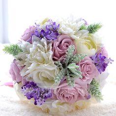 [€ 38.75] Elegant Round Satin/PE/Silk linen Bridal Bouquets/Bridesmaid Bouquets (123090518)