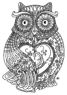 Free coloring page coloring-adult-big-owl. Pretty Owl full of details