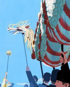 長崎くんち龍踊り #tatsurokiuchi #木内達朗 #illustration #illustrator #nagasaki #jaodori #festival #kyushu #life #lifestyle #dragon #art #japan