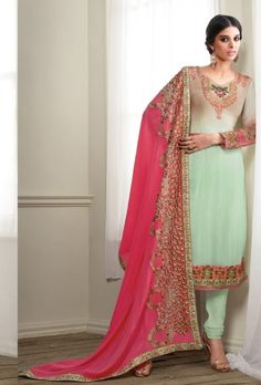 Green and pink designer indian suit with embroidered dupatta