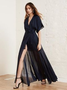 The Winslow Dress is what you would wear to a friend's wedding, but also what you would wear to look great at brunch. This is a v-neck, floor length dress wtih a kimono sleeve.