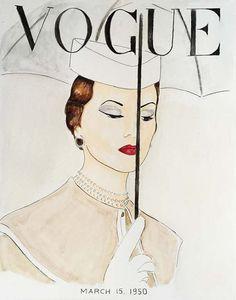 Watercolor 1950's Vogue Poster Vogue Umbrella Print Red