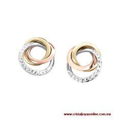 #Aretes #OroFlorentino oro blanco + oro amarillo + oro rosa #CristalJoyas