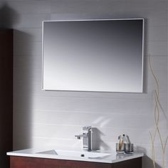 Modern metal framed bathroom mirror