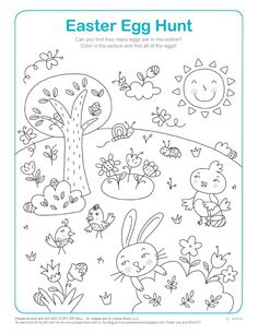 FREE, Easter, Egg, Hunt, Download, Coloring, Page, Doodle, Art, Drawing.