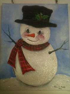 Hand painted canvas SNOWMAN 8 x 10 Glitter by robinsnestgallery2, $20.00