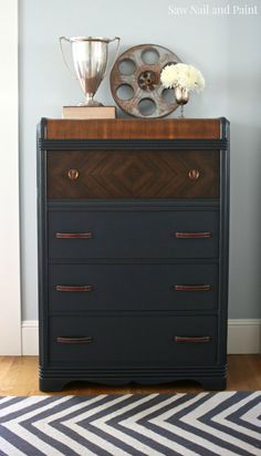 Charcoal Gray Waterfall Dresser - Saw Nail and Paint Today I'm sharing another Craigslist freebie I scored a couple of weeks ago. I saw the ad for this Art Deco style waterfall dresser and it was pretty close to my house, so I decided to check… Art Deco Furniture, Colorful Furniture, Paint Furniture, Furniture Projects, Furniture Makeover, Home Furniture, Simple Furniture, Furniture Buyers, Furniture Online