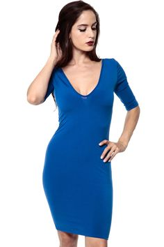 Intercontinental Apparel and Accessories: All The Vs Royal Blue Body Con Dress