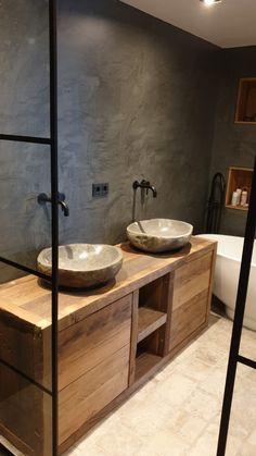 Stijl badkamer Cosy Bathroom, Small Bathroom Sinks, Upstairs Bathrooms, Dream Bathrooms, Bathroom Styling, Stone House Plans, Bathroom Design Inspiration, Bathroom Design Luxury, Bathroom Organisation
