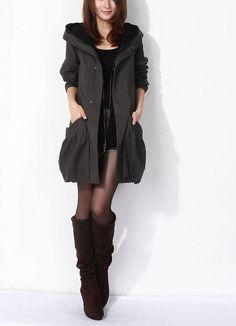 Black /Orange /Dark Gray /Wine Red /Coffee /Green  /Khaki cotton thin women coat women dress coat Apring Autumn Winter --CO105