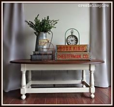 """This coffee table was another """"rescue"""". Hubby was going to take it to the dump and asked me if I wanted it. Furniture Projects, Furniture Decor, Chalky Paint, White Painted Furniture, White Paints, Repurposed, Entryway Tables, Refurbishment, Coffee"""
