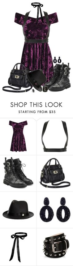 """Rockin' it in Purple & Black"" by autumnwolf1965 ❤ liked on Polyvore featuring Boohoo, Zana Bayne, Giuseppe Zanotti, Merona, Melissa Odabash, Oscar de la Renta and Barbara Bui"