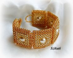 Gold Pearl/Seed Bead Cuff Bracelet, Statement Beadwork Bracelet, Women's Beadwoven Jewely, Elegant Pearl Jewelry, 3D RAW, Unique Gift, OOAK