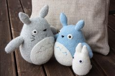 Amigurumi creations by HappyAmigurumi: Amigurumi Totoros: Grey, Blue and White Crochet Totoro