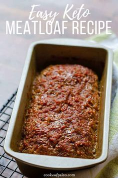 This keto meatloaf recipe is so easy it takes just minutes to prep---one bowl, no chopping, just stir together a handful of pantry ingredients and add ground beef or ground turkey. It's paleo, low car Best Taco Meat Recipe, Meat Recipes, Low Carb Recipes, Free Recipes, Dairy Free Meatloaf Recipes, Flour Recipes, Recipes Dinner, Appetizer Recipes, Dinner Ideas