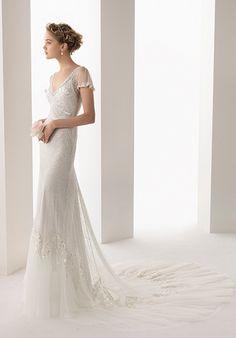 V-neck wedding dress with sleeve Soft by Rosa Clará 206/ULISES