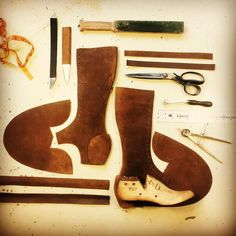 "Day 2, Laying out a new boot design, let the puzzle begin!  1936kW Ladies 14"" Knee High rough-out Boot. #myghandmade #sustainablefashion #sustainabledesign #womensfashion #ladiesfashion #motorcycleculture #bespokeshoes #stl #atx #traveladventure #traveler #womensboots"