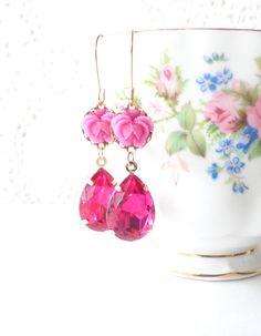 Fuschia Pink Dangle Earrings - Vintage Jewel Flower Earrings - Pink Rhinestone - Ruffled Rose - Bride - Valentines Day Gift by NestingPretty #TrendingEtsy