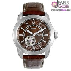Men's Bulova Chronograph Watch with Brown Leather Strap under $500