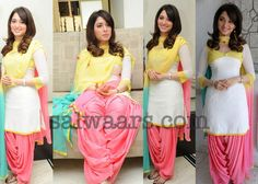 South Indian actress Tamanna in white Georgette quarter sleeves kameez with V neck and light pink Georgette Patiala salwar and Yellow chiffon duppatta.  Related Posts: Celebrity Salwars.., Indian Dresses, Patiala Style Dress, quarter sleeves,