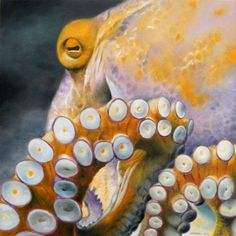 """Saatchi Art is pleased to offer the painting, """"An Octopus,"""" by Daniel Maidman. Original Painting: Oil on N/A. Kraken Octopus, Octopus Art, Fish Art, Octopus Photos, Underwater Creatures, Ocean Creatures, Octopus Painting, Graffiti Pictures, Beautiful Sea Creatures"""