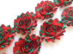 Christmas Star, Shabby Rose Trim In 1/2 Yard ,1 Yard,shabby Flower Rose…