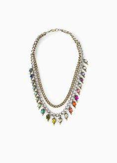 Double chain necklace with multicolor pendants, lobster clasp fastening. Women Accessories, Jewelry Accessories, Women Jewelry, Mango Clothing, Jewelery, Jewelry Necklaces, Spring Wear, Double Chain, All About Fashion