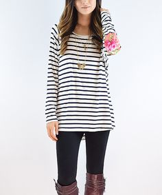 Loving this éloges Blue Stripe Floral Elbow Patch Tunic on #zulily! #zulilyfinds