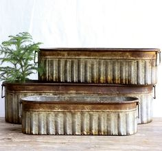 "Rustic Metal Planters | Rustic Metal Buckets | Oblong Metal Buckets Antique Farm House 25, 21, 17"" L $62.00"