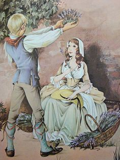 """The Lavender queen    From a """"Book of Rhymes"""", 1977    Illustrators: Janet & Anne Grahame Johnstone"""
