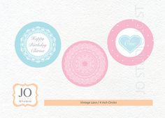 Vintage Lace Themed 4 Inch Circles / Party by JoStudioPartyPaperie / Complete Printable Collection for a Vintage Lace Birthday by JoStudioPartyPaperie / Kids Party / Vintage Lace / Kids Parties / Stationery / Jo Studio / First Birthday / Pink and Aqua / Printables by Jo Studio