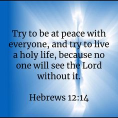 Hebrews Try to be at peace with everyone, and try to live a holy life, because no one will see the Lord without it. Biblical Quotes, Religious Quotes, Bible Verses Quotes, Bible Scriptures, Spiritual Quotes, Faith Quotes, Peace Quotes, Prayer Verses, Bible Prayers