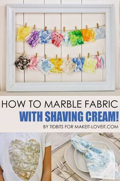 How to Marble Fabric (with Shaving Foam !) --- Make it and Love it Pin How to Marble Fabric (with s Fabric Painting, Fabric Art, Fabric Crafts, Sewing Crafts, Sewing Projects, Craft Projects, Projects To Try, Craft Ideas, Paint Fabric