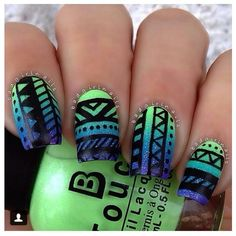Green and blue tribal nail art Beauty ❤ liked on Polyvore featuring beauty products, nail care, nail treatments, nails, beauty and makeup
