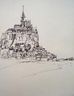 Le Mont Saint Michel, Normandy, France (2001) - Ink pen on paper