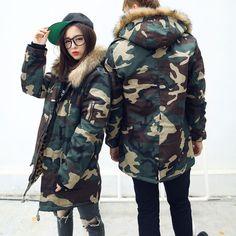 femme / hommeveste d'hiver à capuche imprimé camouflage