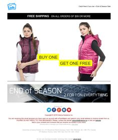 """""""End of Season Sale"""" Responsive Email design template - Exclusive Canvas template for email marketing - editable - No html skill required - No Photoshop needed Email Template Design, Email Design, Responsive Email, Ecommerce, Email Marketing Design, End Of Season Sale, No Photoshop, Newsletter Templates, Buy One Get One"""