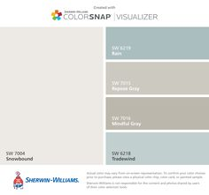Sherwin-Williams house colors for second side of house: Snowbound (SW Rain (SW Repose Gray (SW Mindful Gray (SW Tradewind (SW Exterior Paint Colors, Paint Colors For Home, Exterior House Colors, Paint Colours, Paint Ideas For Bedroom, Blue Grey Paint Color, Home Office Paint Ideas, Sea Blue Color, Blue Colors