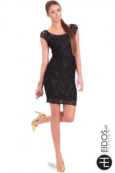Czarna sukienka #koronkowa z krótkim rękawem