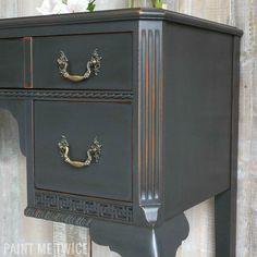 Desk Details | Graphite Chalk Paint® with Annie Sloan Soft Dark Wax by Paint Me Twice