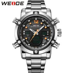 WEIDE Fashion Sports Watches Men Stainless Steel Band Waterproof Analog-Digital Display Quartz Movement Big Dial Clock / WH5205 #Sports watches http://www.ku-ki-shop.com/shop/sports-watches/weide-fashion-sports-watches-men-stainless-steel-band-waterproof-analog-digital-display-quartz-movement-big-dial-clock-wh5205/