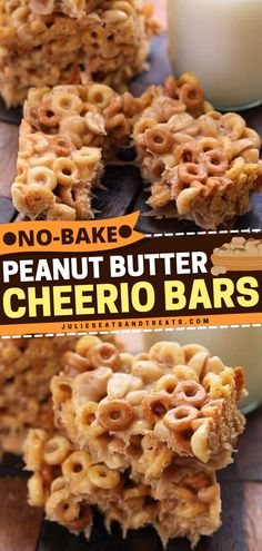 These Peanut Butter Cheerio Bars are a no-bake summer dessert you'll crave again and again! Made with peanut butter, corn syrup, and vanilla, this easy dessert idea has a ooey gooey texture. Whip up these sweet treats! Rice Krispie Treats, Rice Krispies, Homemade Desserts, Easy Desserts, Peanut Butter Cheerio Bars, No Bake Summer Desserts, Elderly Activities, Corn Syrup, Chocolate Desserts