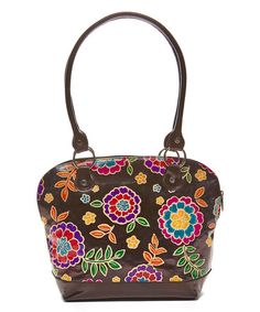 Black Floral Hand-Painted Leather Dome Satchel  zulily  zulilyfinds Clutch 338034c7f2