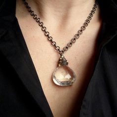 Quartz Crystal Sterling Silver Necklace with 14k Gold Necklace, 75 Carat Necklace. $348.00, via Etsy.